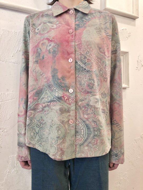 Vintage Faux Suede Baroque Print Shirt M