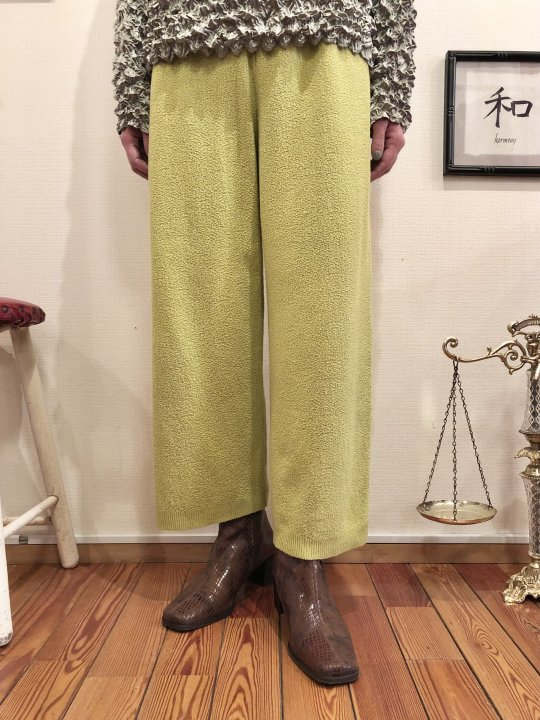 Vintage Lime Green Pile Wide Pants M<img class='new_mark_img2' src='https://img.shop-pro.jp/img/new/icons50.gif' style='border:none;display:inline;margin:0px;padding:0px;width:auto;' />