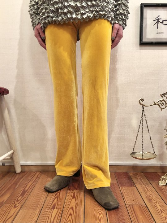 Vintage Yellow Velour Fitted Flare Pants S