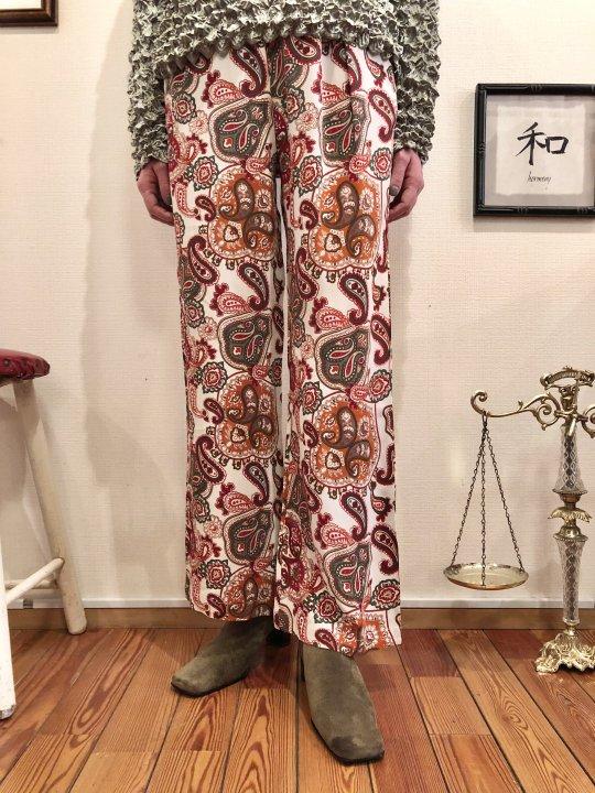 Vintage Paisley Print Rayon Flare Pants S