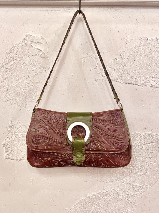 Vintage Stitch Design Embossed Leather Bag