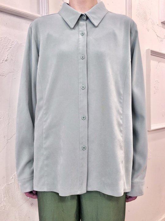 Vintage Pale Blue Faux Suede Shirt M