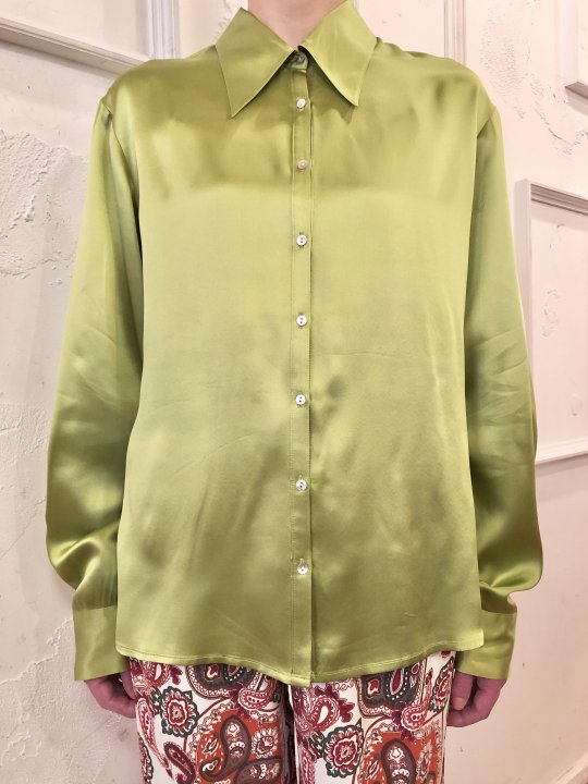 Vintage Green Gold Silk Satin Shirt M<img class='new_mark_img2' src='https://img.shop-pro.jp/img/new/icons50.gif' style='border:none;display:inline;margin:0px;padding:0px;width:auto;' />