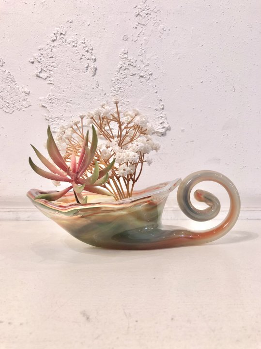 Vintage Swirl Design Marble Glass Flower Vase