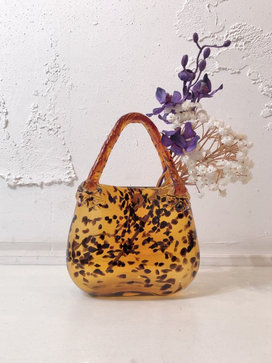 Vintage/DeadStock Amber Glass Handbag Flower Vase