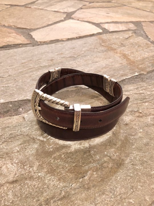 Vintage Reversible Design Brown Leather Belt