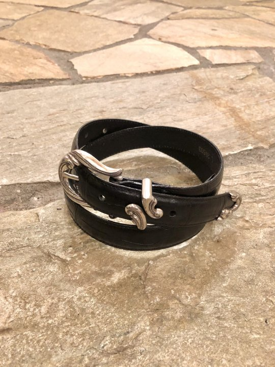 Vintage Black Leather Belt L 24503