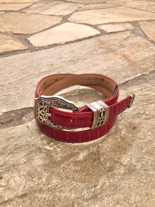 Vintage Red Leather Belt ML