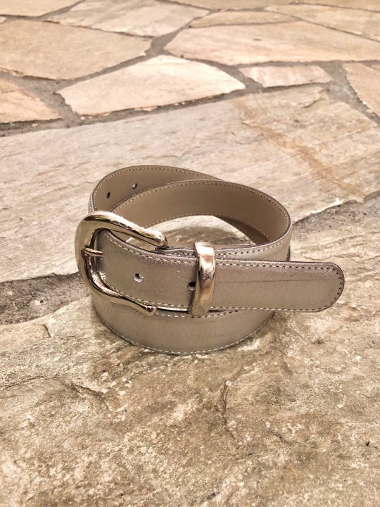 Vintage Metallic Silver Leather Belt