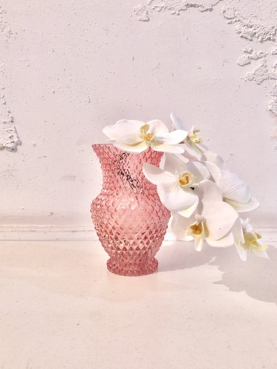 Vintage Pink Diamond Pattern Glass Flower Vase