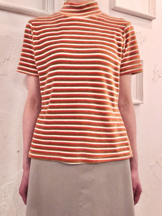 Vintage Stripe Velour Mock Neck S/S Top M