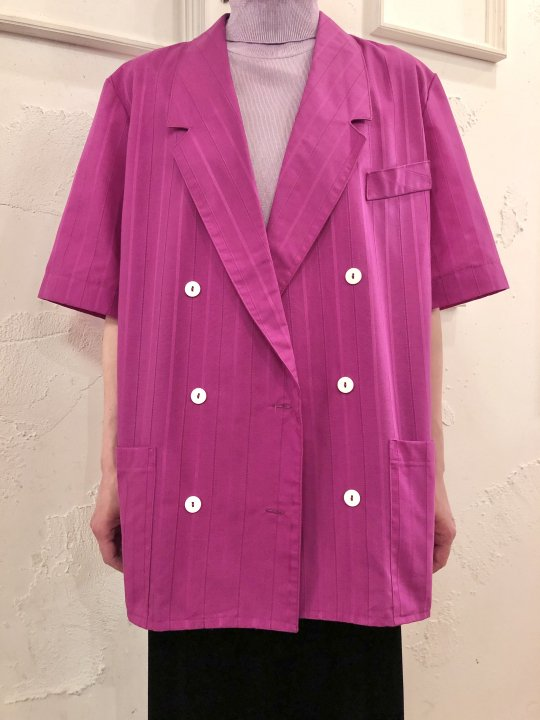 Vintage Magenta Double Breasted S/S Jacket L<img class='new_mark_img2' src='https://img.shop-pro.jp/img/new/icons50.gif' style='border:none;display:inline;margin:0px;padding:0px;width:auto;' />