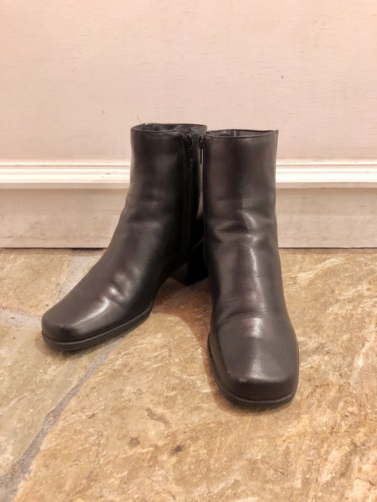 Vintage Black Leather Heel Boots 24.0cm