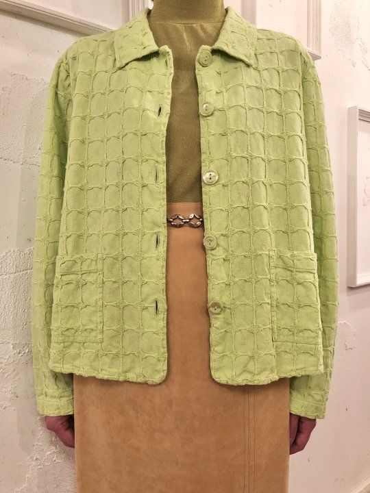 Vintage Lime Green 3D Material Jacket M<img class='new_mark_img2' src='https://img.shop-pro.jp/img/new/icons50.gif' style='border:none;display:inline;margin:0px;padding:0px;width:auto;' />