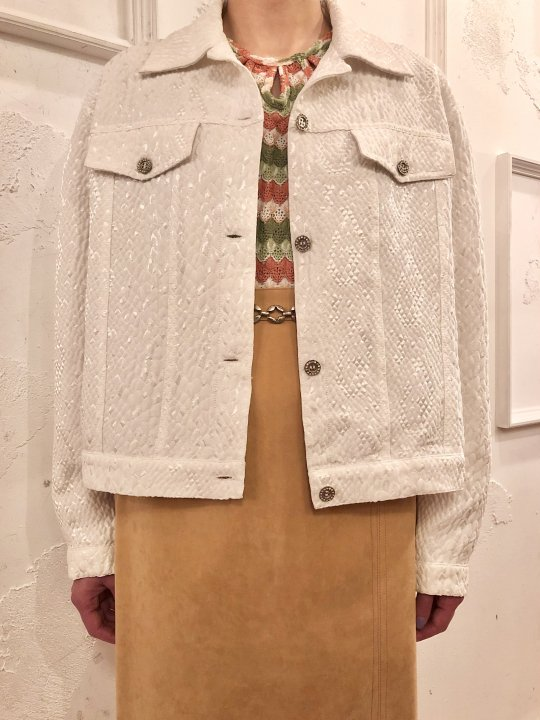 Vintage White Satin 3D Material Trucker Jacket M