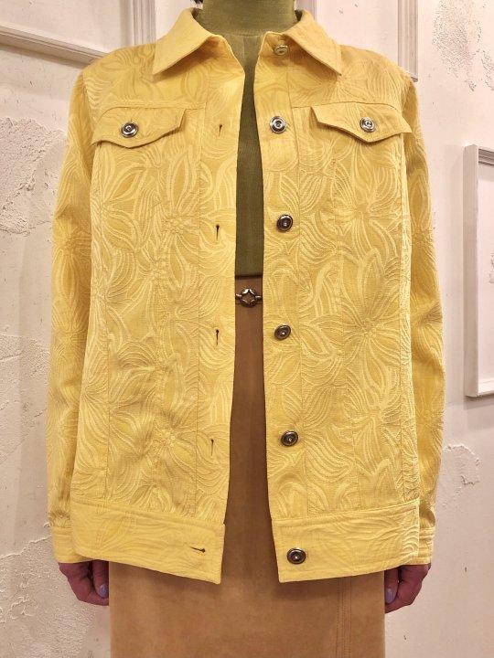 Vintage Yellow Floral Jacquad Trucker Jacket M