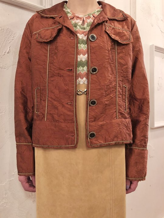 Vintage Brick Wrinkle Silk Satin Trucker Jacket S
