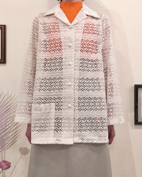 Vintage White Seethrough Shirt Jacket M <img class='new_mark_img2' src='https://img.shop-pro.jp/img/new/icons50.gif' style='border:none;display:inline;margin:0px;padding:0px;width:auto;' />