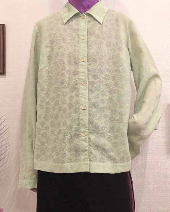 Vintage Pale Green Wrinkle Seethrough Shirt M <img class='new_mark_img2' src='https://img.shop-pro.jp/img/new/icons50.gif' style='border:none;display:inline;margin:0px;padding:0px;width:auto;' />