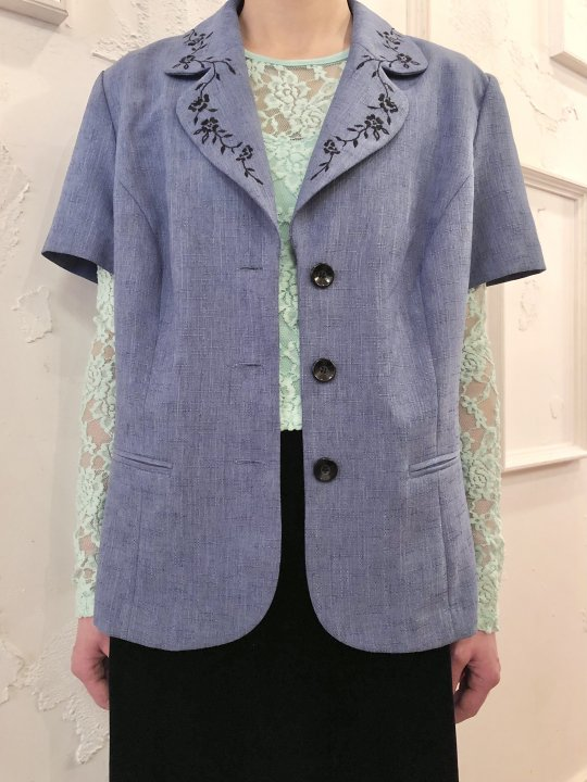 Vintage Blue Gray Embroidery S/S Tailored Jacket M
