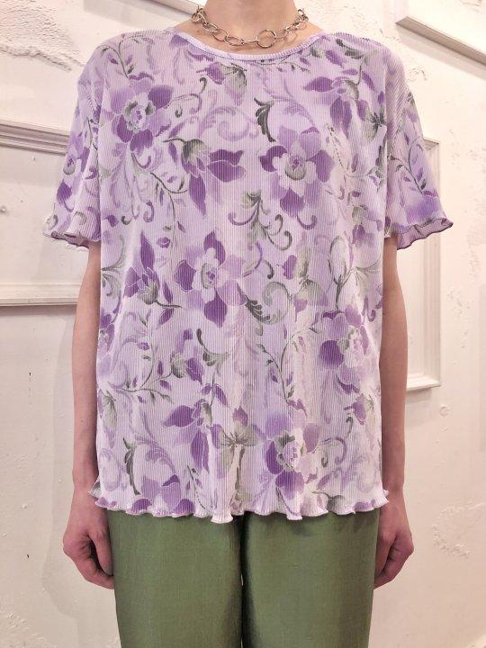Vintage Lilac Floral Design S/S Pleated Top L