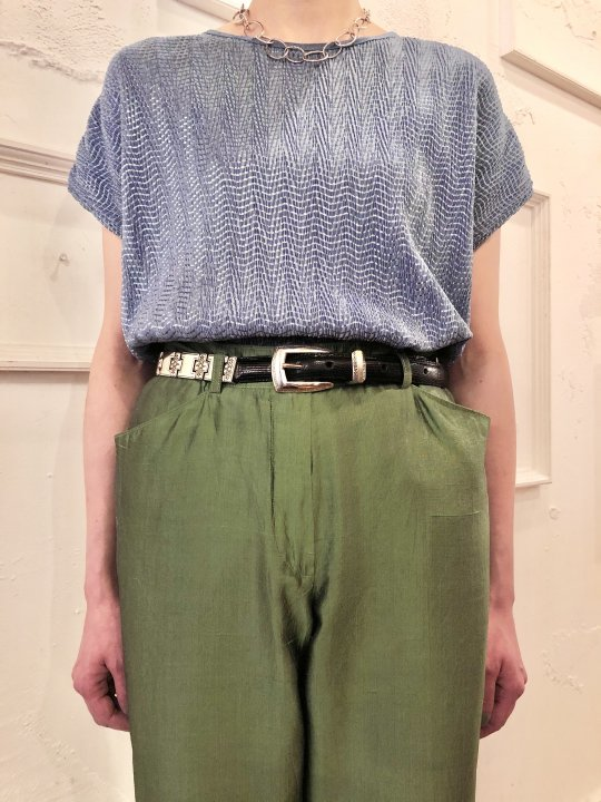 Vintage Blue Gray S/S Pleated Top L
