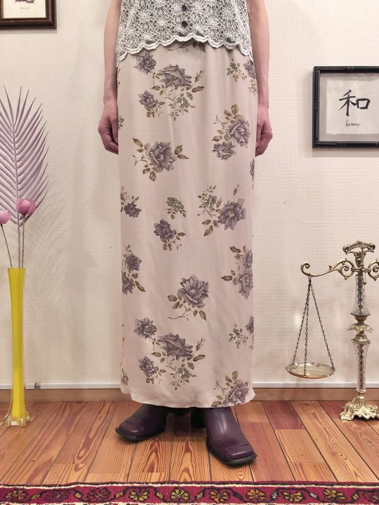 Vintage Floral Print Beige Rayon Long Skirt S<img class='new_mark_img2' src='https://img.shop-pro.jp/img/new/icons50.gif' style='border:none;display:inline;margin:0px;padding:0px;width:auto;' />