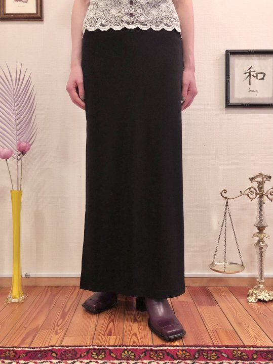 Vintage Black Stretch Double Slit Long Skirt M<img class='new_mark_img2' src='https://img.shop-pro.jp/img/new/icons50.gif' style='border:none;display:inline;margin:0px;padding:0px;width:auto;' />