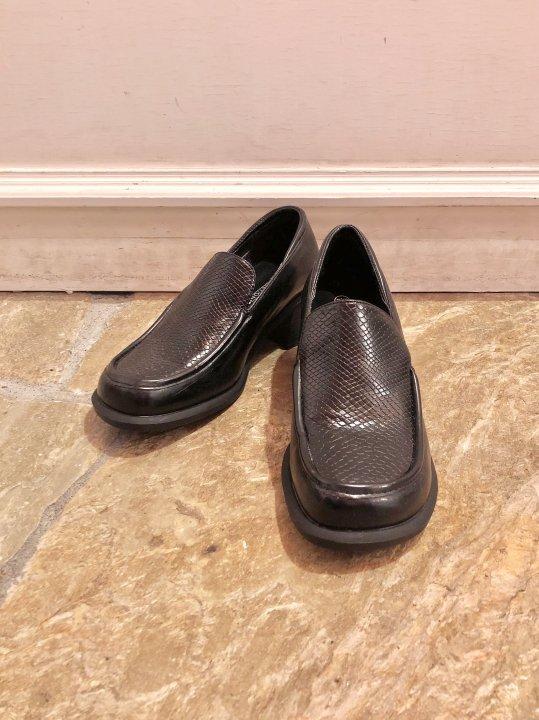 Vintage Black Python Heel Loafers 24.5cm