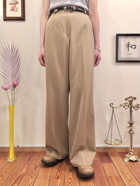 Vintage Brown Beige Wide Slacks  L<img class='new_mark_img2' src='https://img.shop-pro.jp/img/new/icons50.gif' style='border:none;display:inline;margin:0px;padding:0px;width:auto;' />