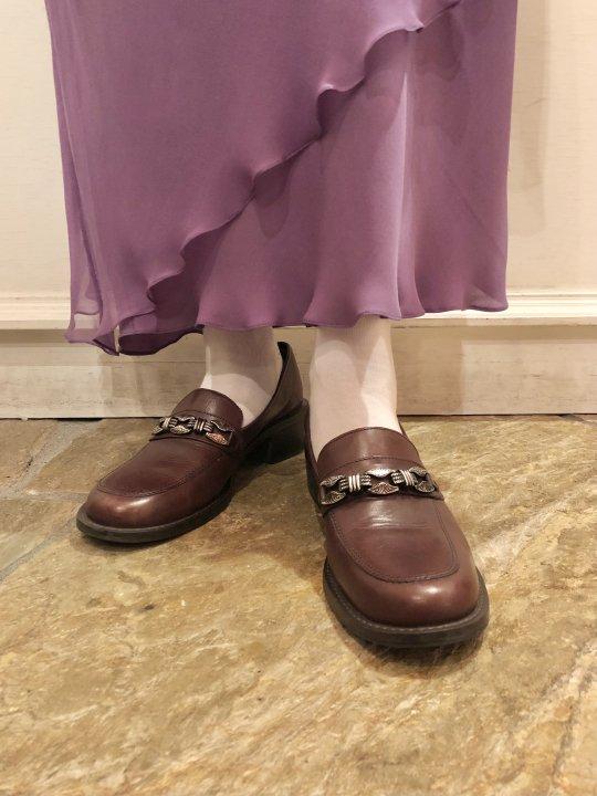 Vintage Silver Plate Design Brown Leather Heel Loafers 24.5cm