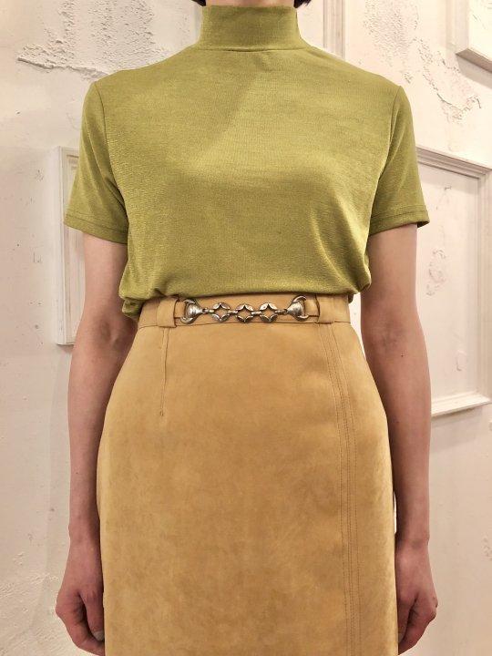 Vintage Green Gold S/S Mockneck Top S