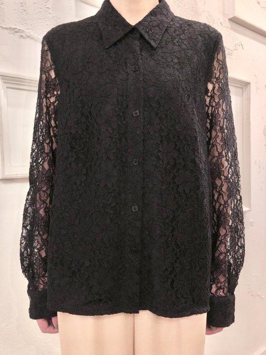 Vintage Black Lace Seethrough Shirt M