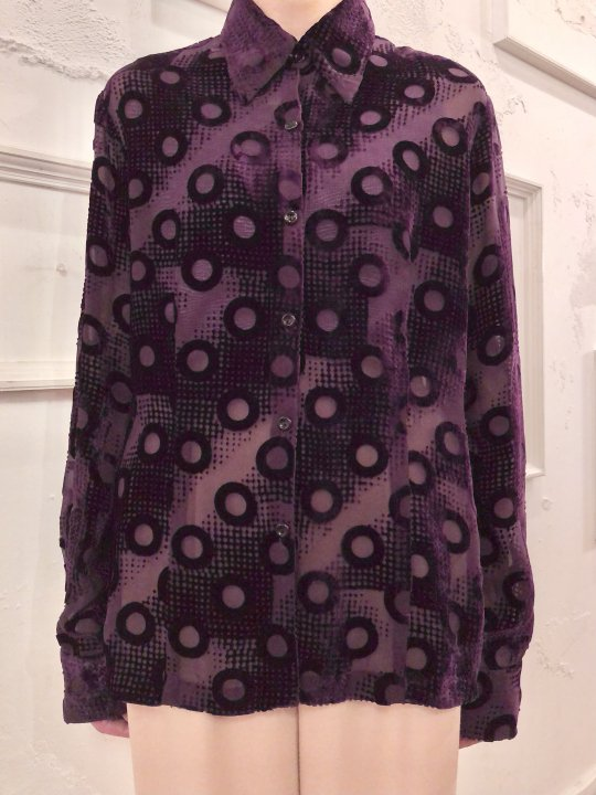 Vintage Purple Velour See Through Shirt M