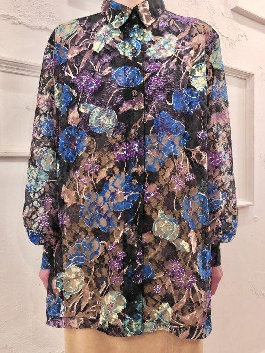 Vintage Colorful Floral Print Lace Shirt M