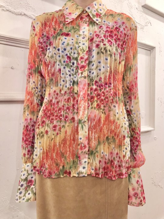 Vintage ESCADA Floral Print Pleated Seethrough Shirt M<img class='new_mark_img2' src='https://img.shop-pro.jp/img/new/icons50.gif' style='border:none;display:inline;margin:0px;padding:0px;width:auto;' />