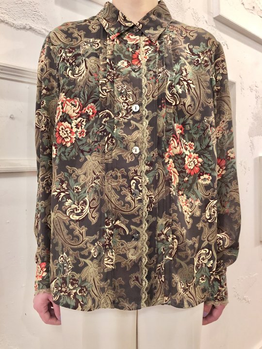 Vintage Floral  Print Seethrough Shirt M