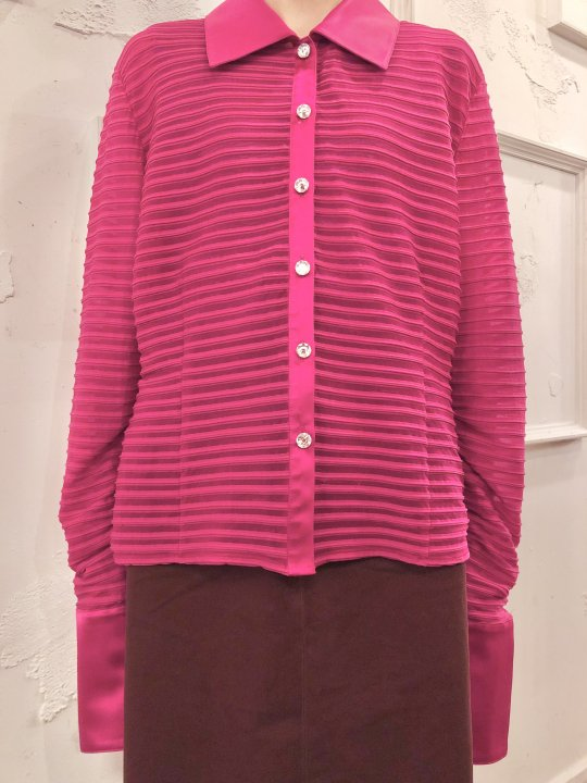 Vintage Magenta Seethrough Satin Shirt L<img class='new_mark_img2' src='https://img.shop-pro.jp/img/new/icons50.gif' style='border:none;display:inline;margin:0px;padding:0px;width:auto;' />