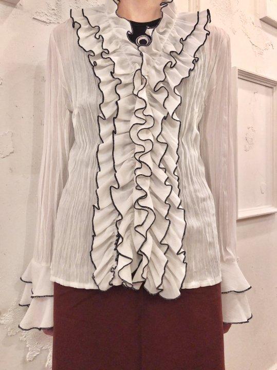 Vintage Frilled Design Seethrough Pleated Shirt M