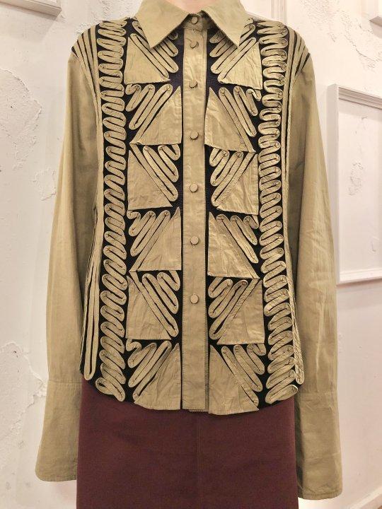 Vintage Olive Seethrough Design Shirt L