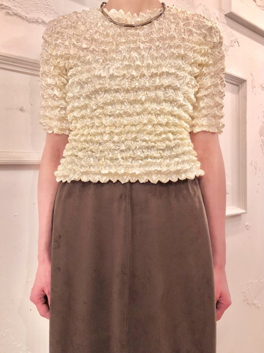 Vintage/DeadStock Pale Yellow S/S Spiked Top