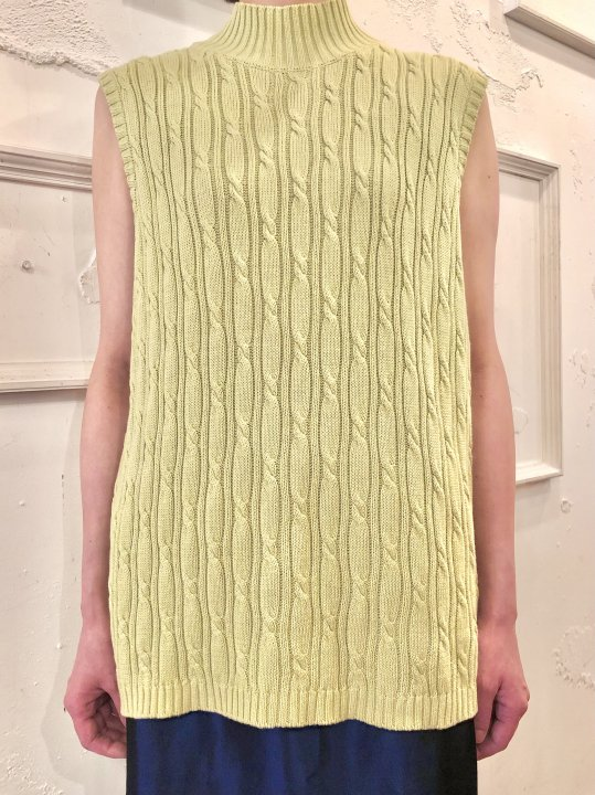 Lime Green Cable Knit N/S Mockneck Top L