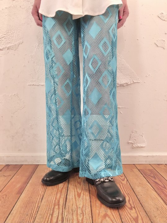 Vintage Emerald Blue Seethrough Flare Pants M<img class='new_mark_img2' src='https://img.shop-pro.jp/img/new/icons50.gif' style='border:none;display:inline;margin:0px;padding:0px;width:auto;' />