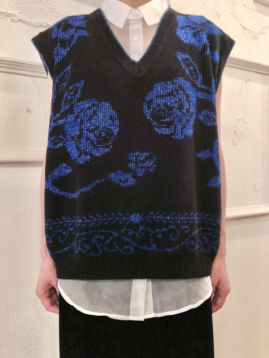 Vintage Metallic Blue Floral N/S Knit Top M<img class='new_mark_img2' src='https://img.shop-pro.jp/img/new/icons50.gif' style='border:none;display:inline;margin:0px;padding:0px;width:auto;' />