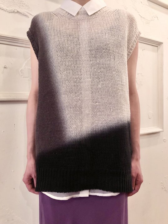 Vintage Gradation Dyed Linen N/S Knit Top M<img class='new_mark_img2' src='https://img.shop-pro.jp/img/new/icons50.gif' style='border:none;display:inline;margin:0px;padding:0px;width:auto;' />