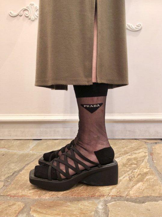 Vintage Black Multi Strap Square Toe Sandals 24.0cm