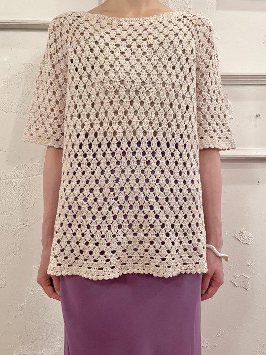 Vintage Ivory S/S Crochet Knit M