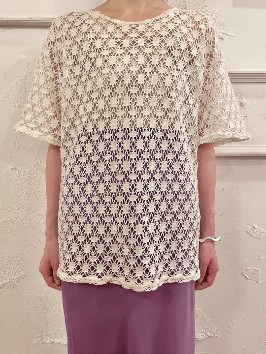 Vintage Off White S/S Crochet Knit M