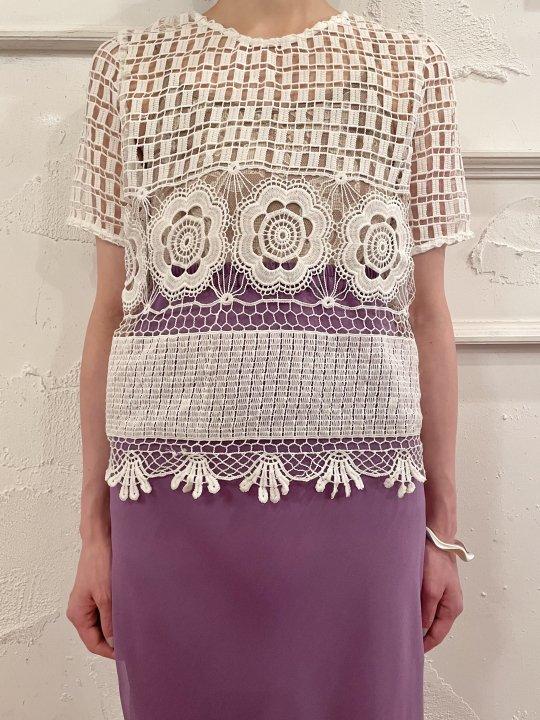 Vintage White Floral Design S/S Crochet Knit S