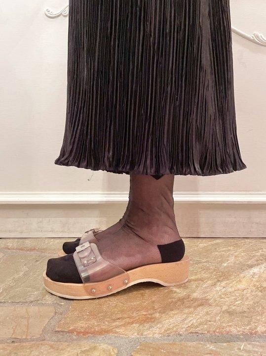 Vintage Clear Belt Wooden Sandals 24.0cm